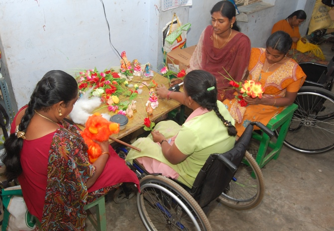 physically-challenged-girls-doing-handicrafts